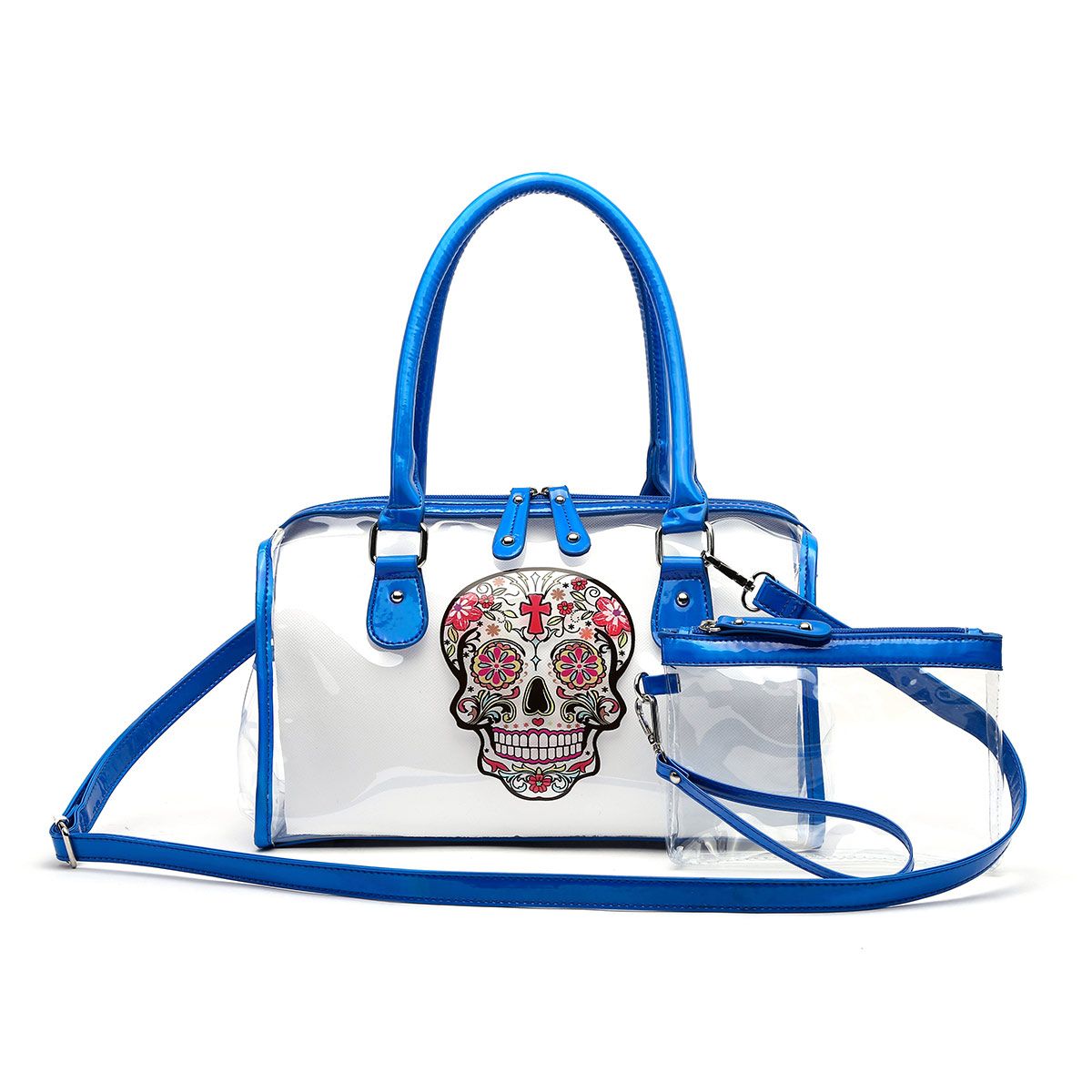 Skull Printed Clear See Through Satchel with Pouch Blue