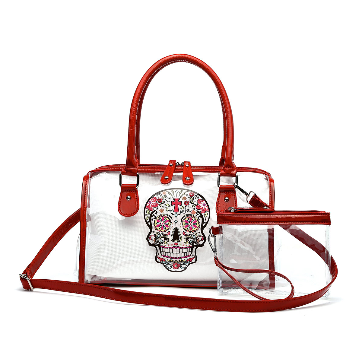 Skull Printed Clear See Through Satchel with Pouch Red