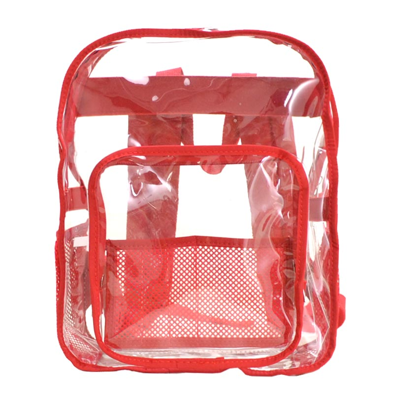 Clear Backpack Red