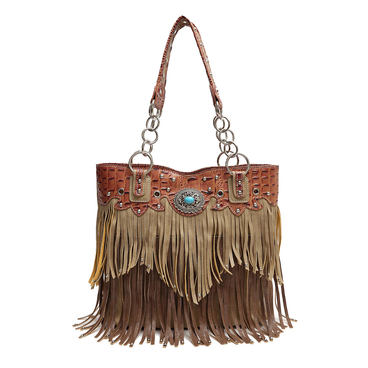 'Cowgirl Trendy' Fringe Bucket Bag Tan