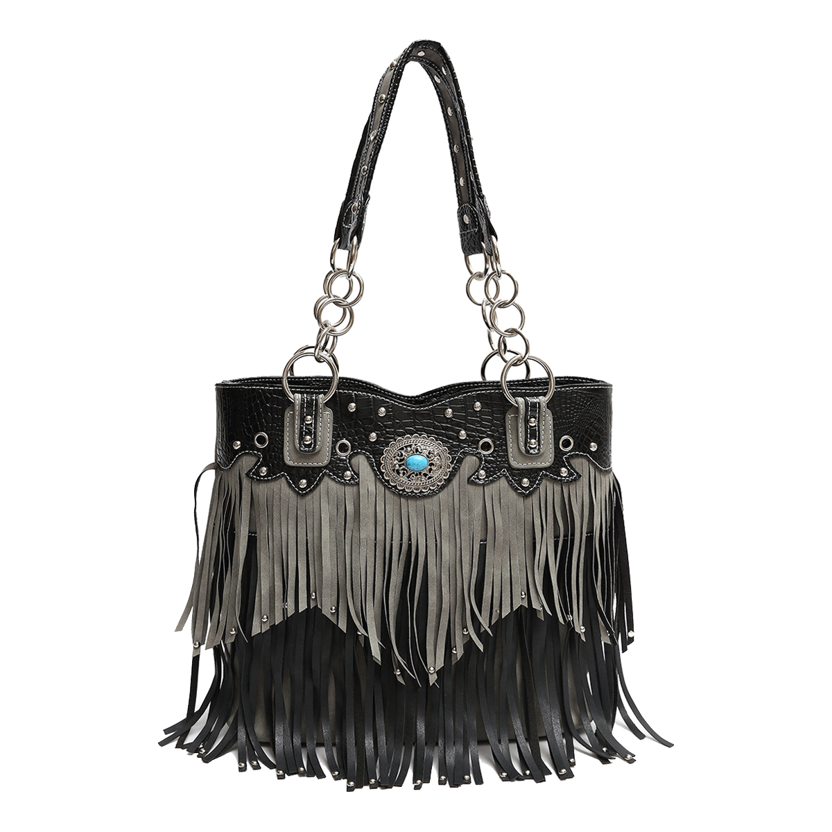 'Cowgirl Trendy' Fringe Bucket Bag Black