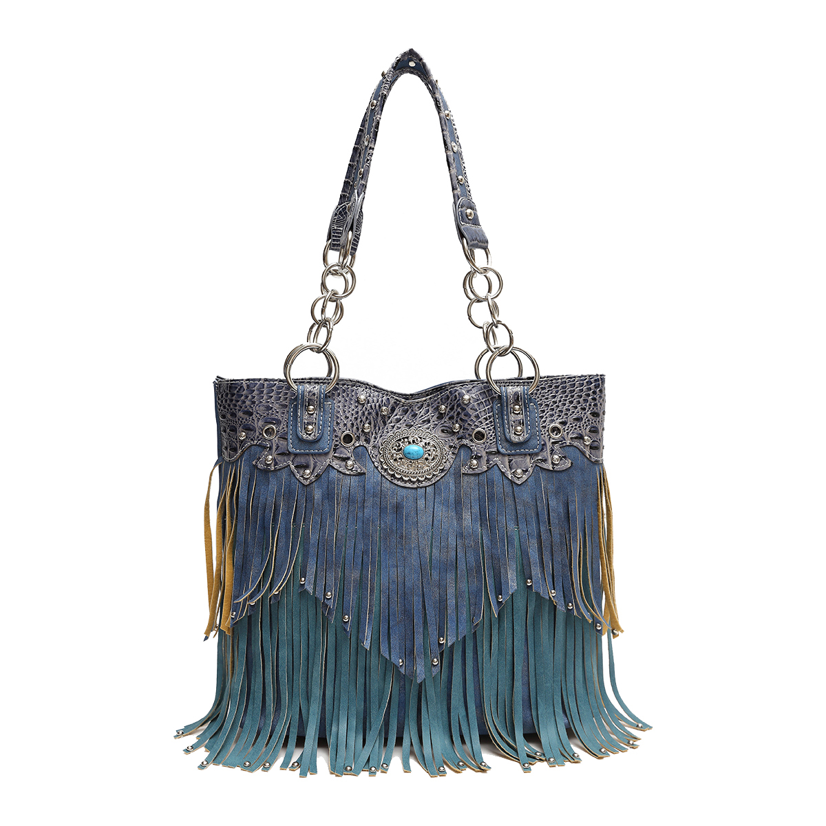 'Cowgirl Trendy' Fringe Bucket Bag Turquoise