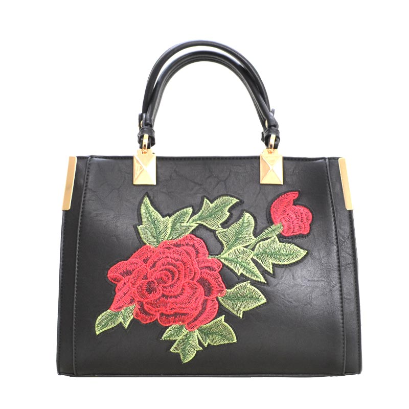 Designer Floral Embroidered Tote Bag Black