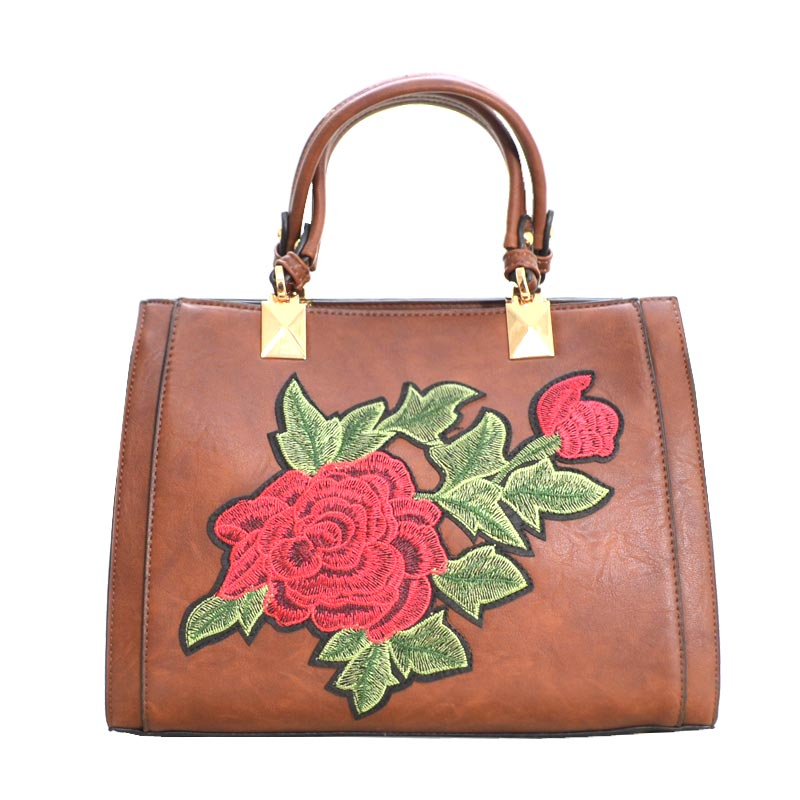Designer Floral Embroidered Tote Bag Brown