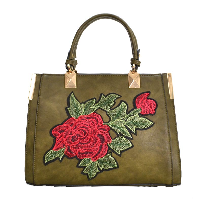 Designer Floral Embroidered Tote Bag Olive