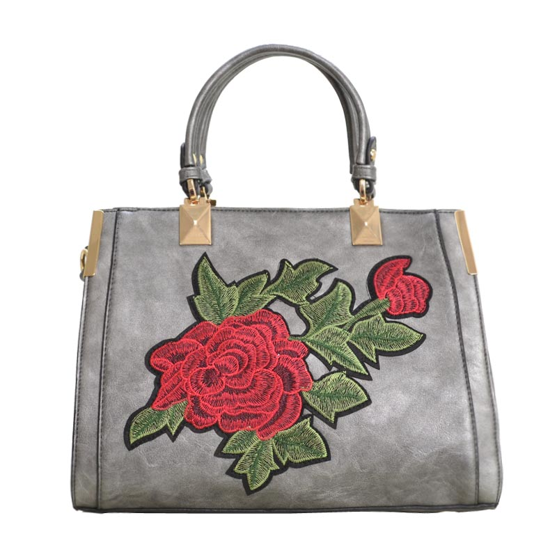 Designer Floral Embroidered Tote Bag Pewter