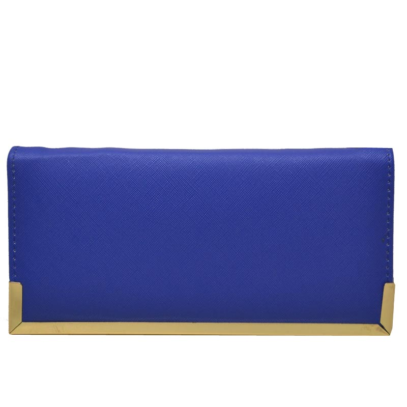 Simple Edge Zip Wallet Blue