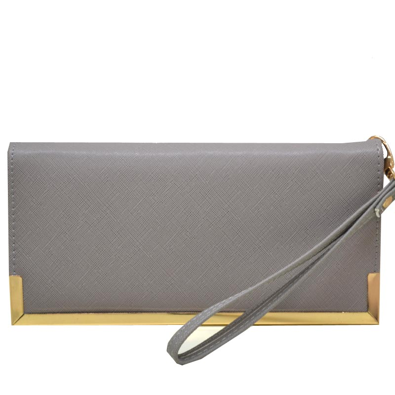 Simple Edge Zip Wallet Grey