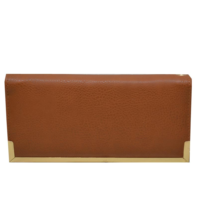 Simple Edge Zip Wallet Tan