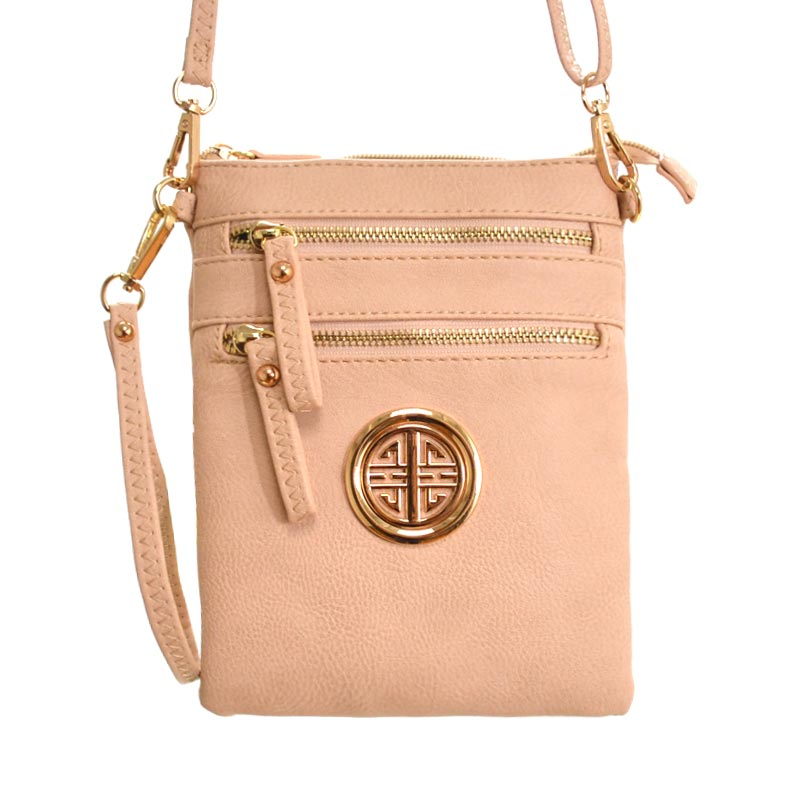 ROUND SYMBOL MESSENGER BAG Nude - Click Image to Close