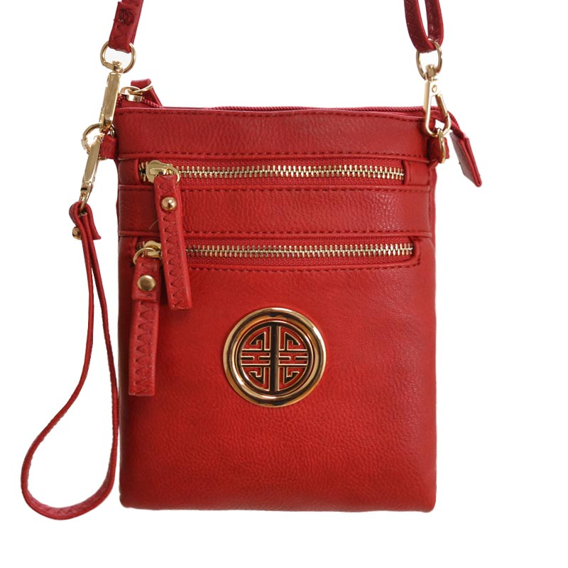 ROUND SYMBOL MESSENGER BAG Red