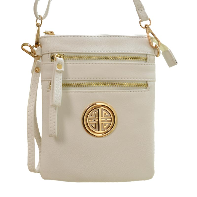 ROUND SYMBOL MESSENGER BAG White