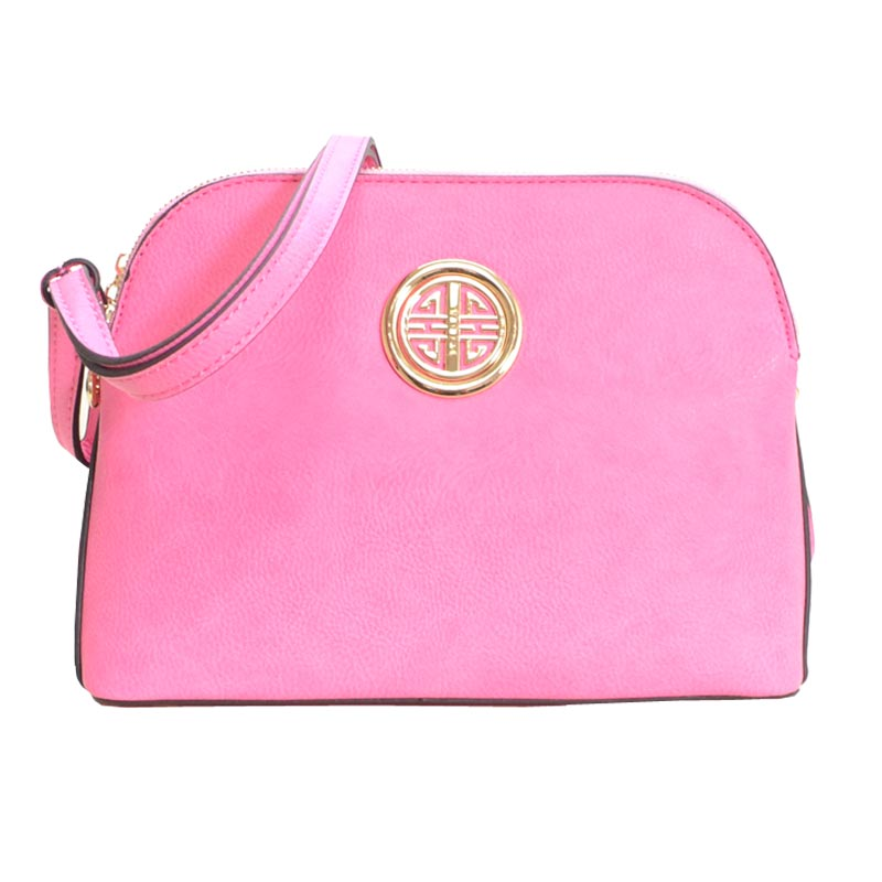 Leather Shoulder Strap Handbag Pink