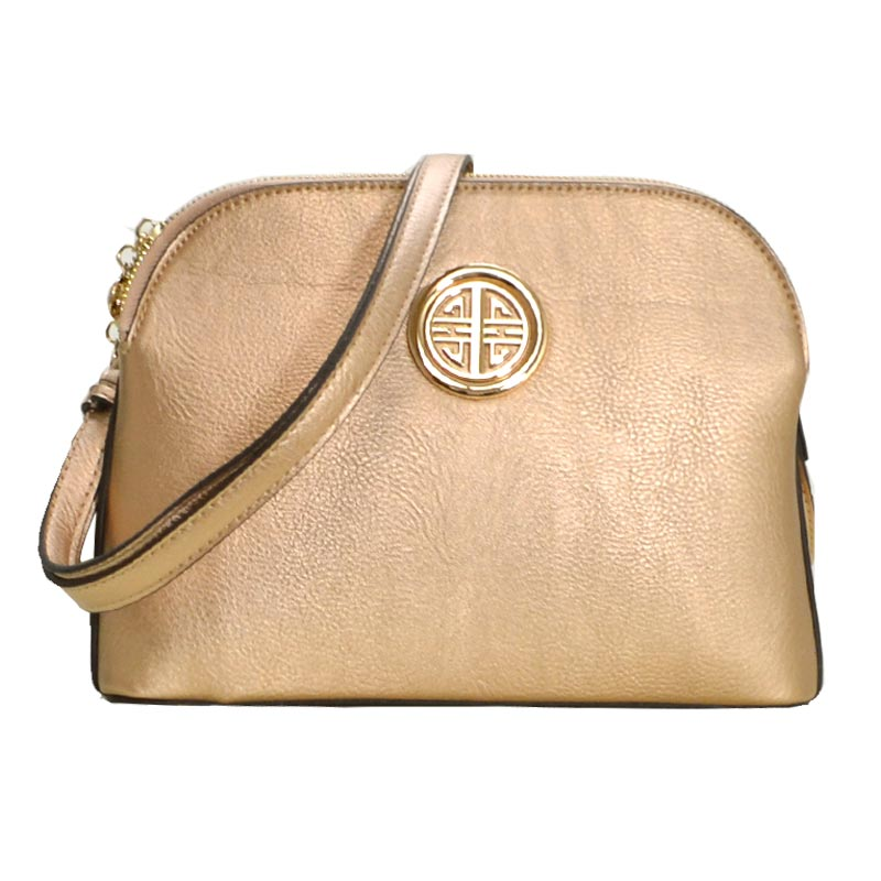 Leather Shoulder Strap Handbag Rose Gold
