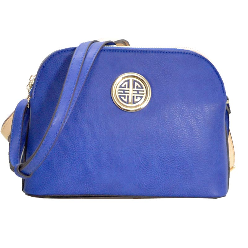 Leather Shoulder Strap Handbag Royal Blue