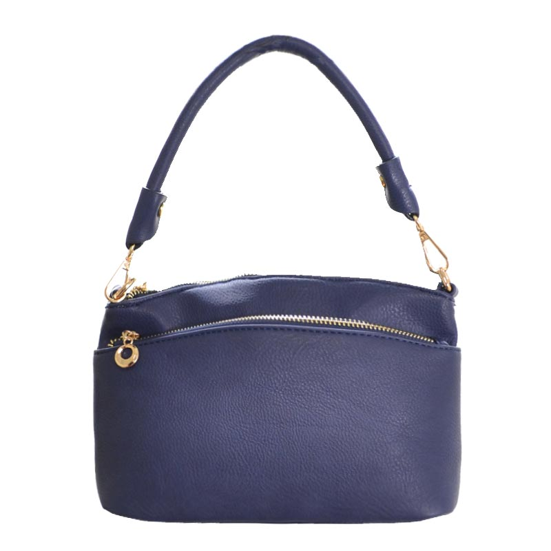 DESIGNER ZIPPER POCKET TOP HAND BAG Navy