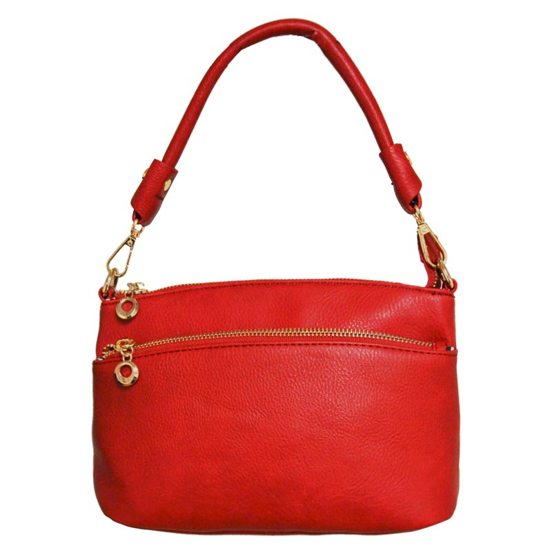 DESIGNER ZIPPER POCKET TOP HAND BAG Red