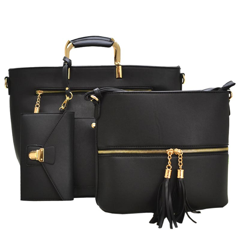 3 in 1 Modern Fashion Satchel Bag Black