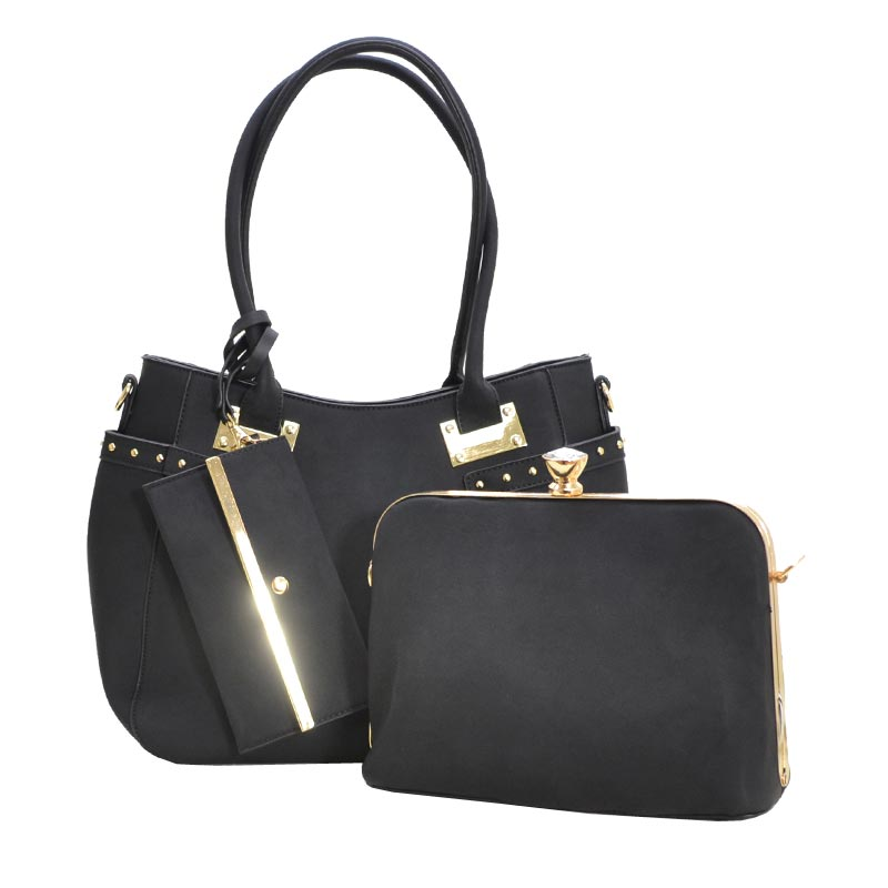 Jewel-top Frame Satchel 3 In 1 Large Tote Bag Black