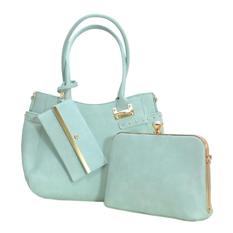 Jewel-top Frame Satchel 3 In 1 Large Tote Bag Mint
