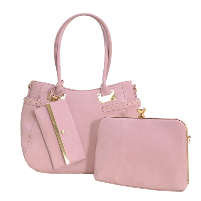 Jewel-top Frame Satchel 3 In 1 Large Tote Bag Pink