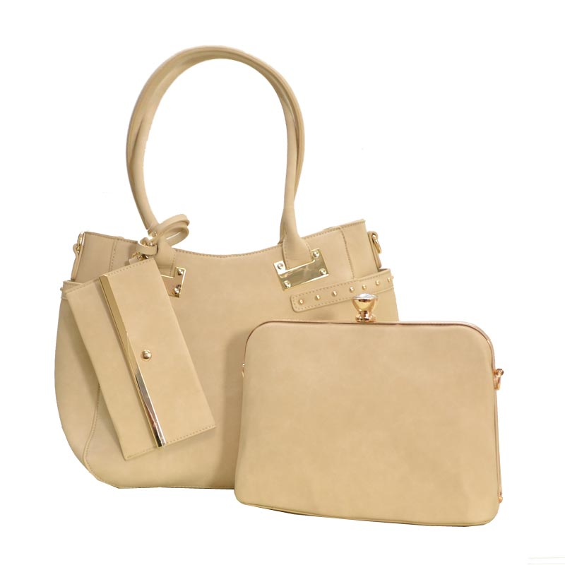 Jewel-top Frame Satchel 3 In 1 Large Tote Bag Sand