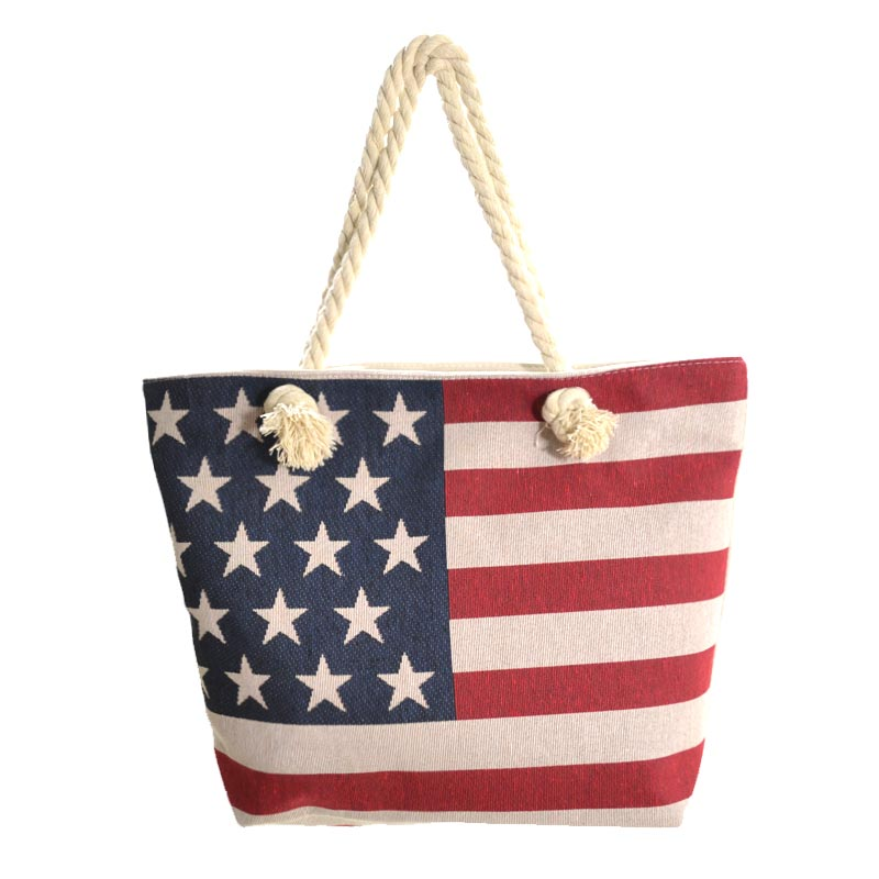 Beige American Flag Traveler Tote Bag