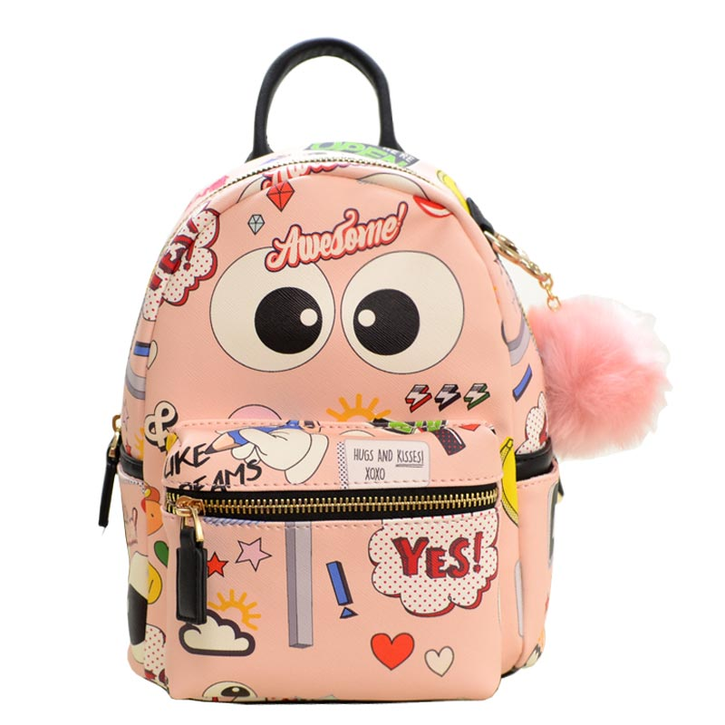 LIKE DREAMS RANDOM CUTE PRINT BACKPACK Blush