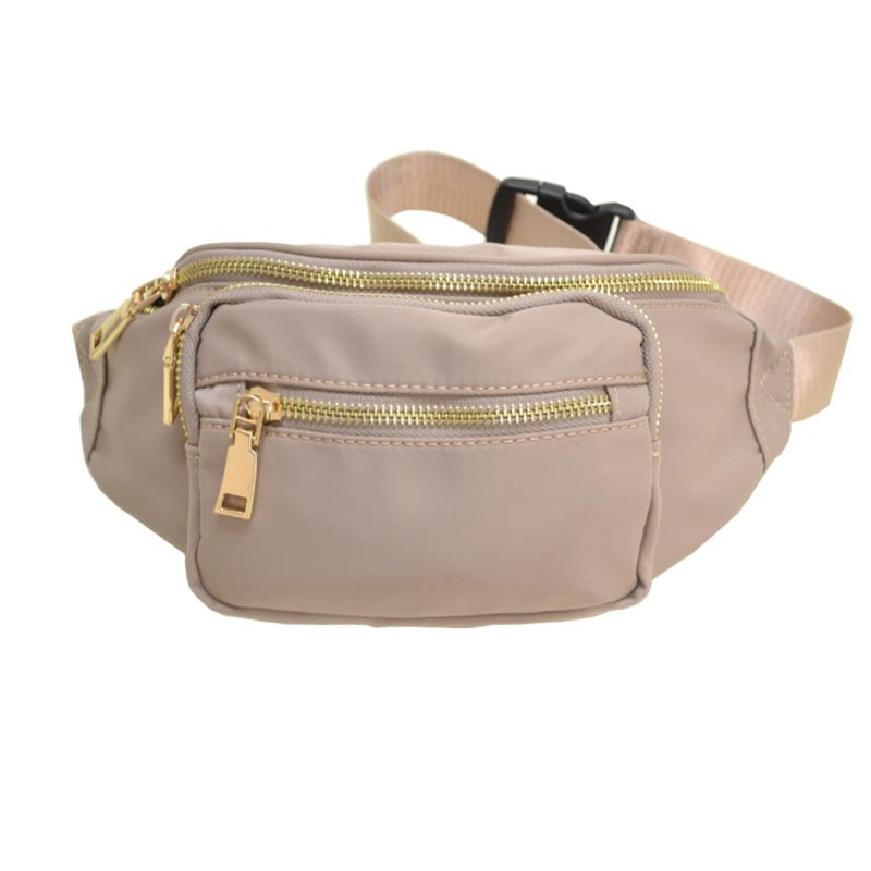 Nylon Twill Fashion Fanny Pack Light Taupe
