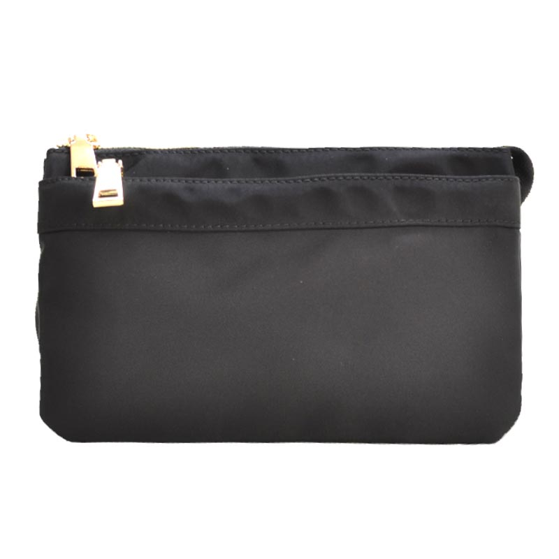 Nylon Twill Multi Compartment Fashion Fanny Pack Black