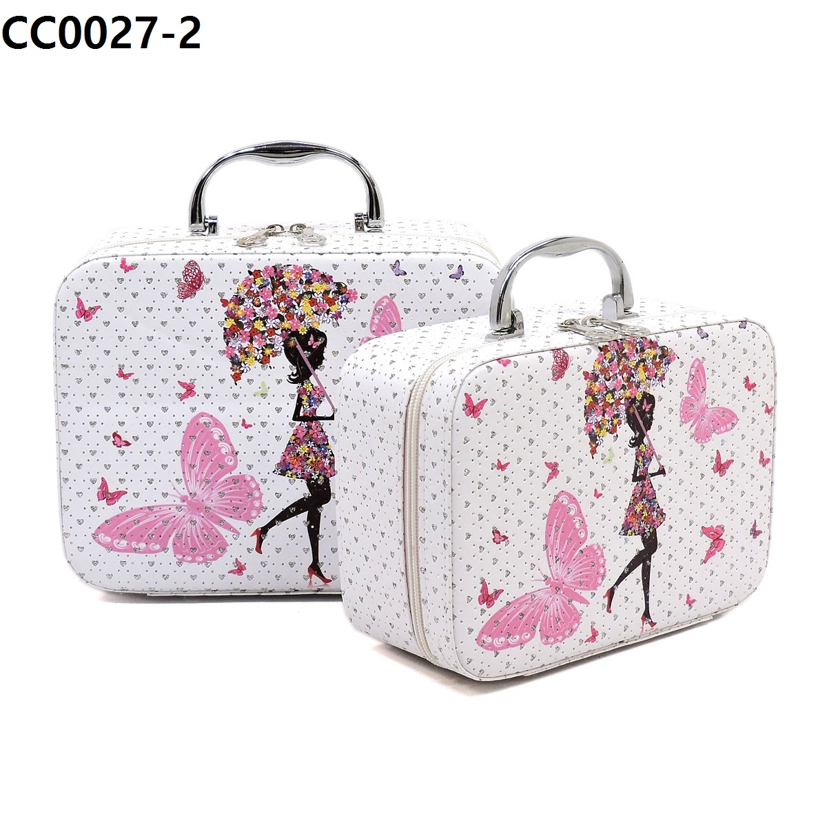 Flower Printed 2 in 1 Cosmetic Bag 2