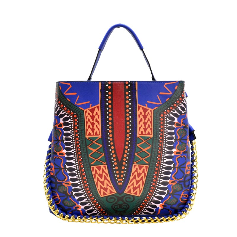 Ethnic Print Chain Accent 2-way Hobo Bag Royal Blue