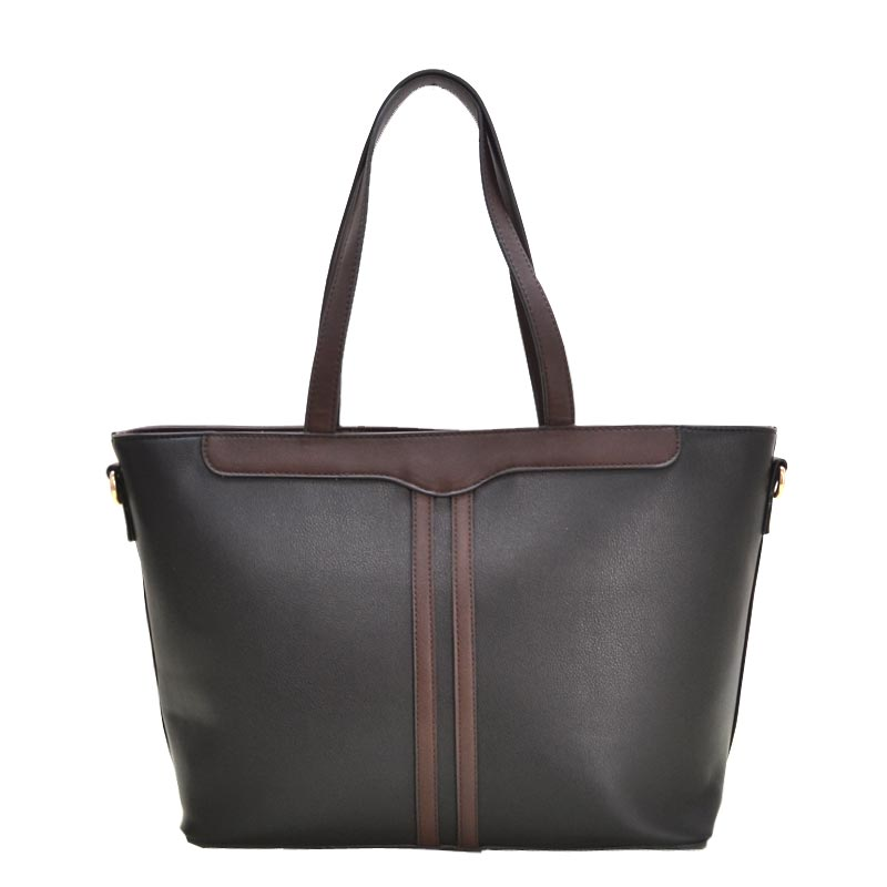 3 in 1 Fabric Textured PU Leather Tote Black