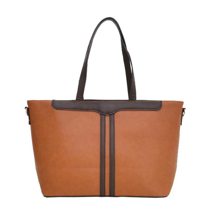 3 in 1 Fabric Textured PU Leather Tote Brown