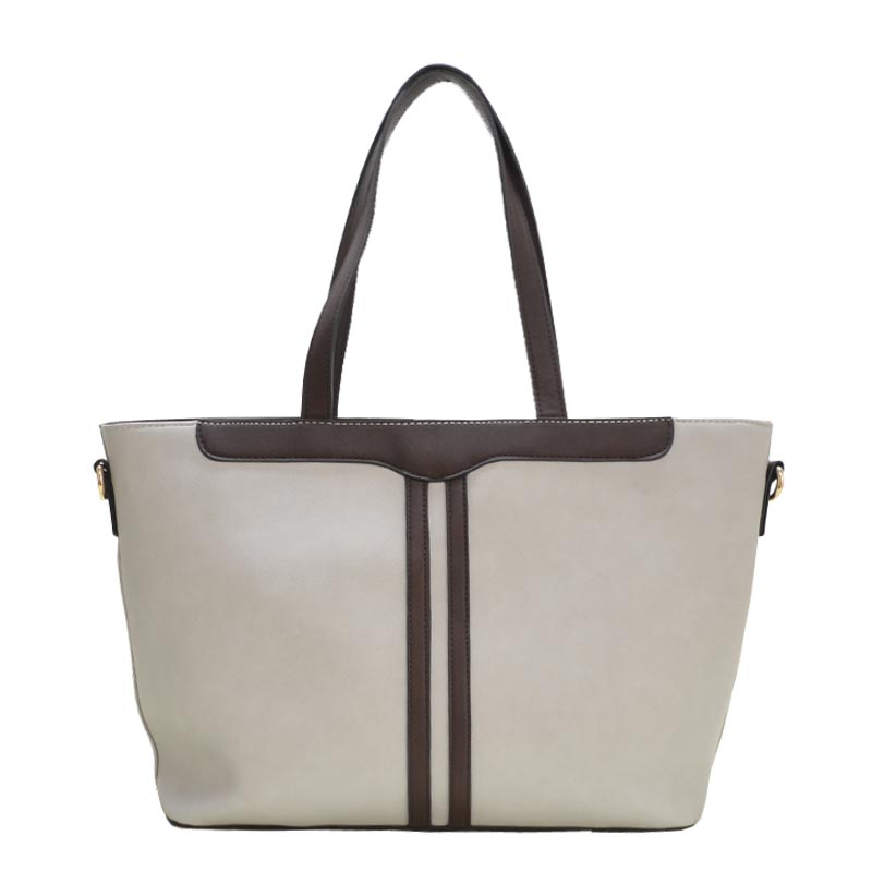 3 in 1 Fabric Textured PU Leather Tote Light Grey