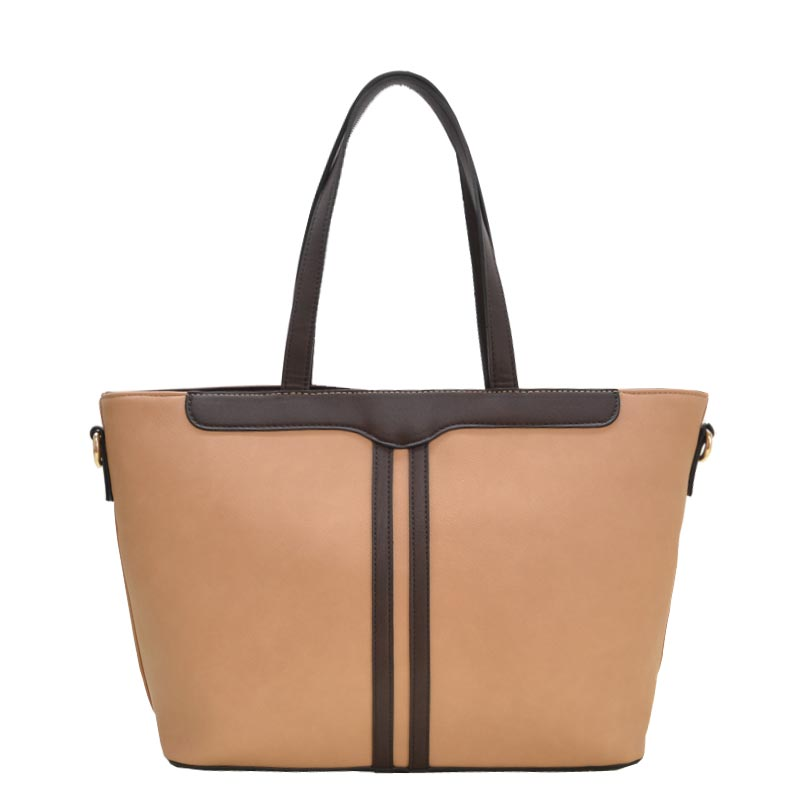 3 in 1 Fabric Textured PU Leather Tote Taupe