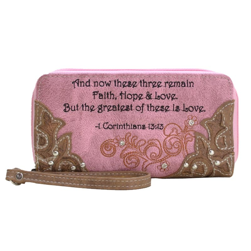 '1st Cor 13:13' Biblical Word Wallet Pink