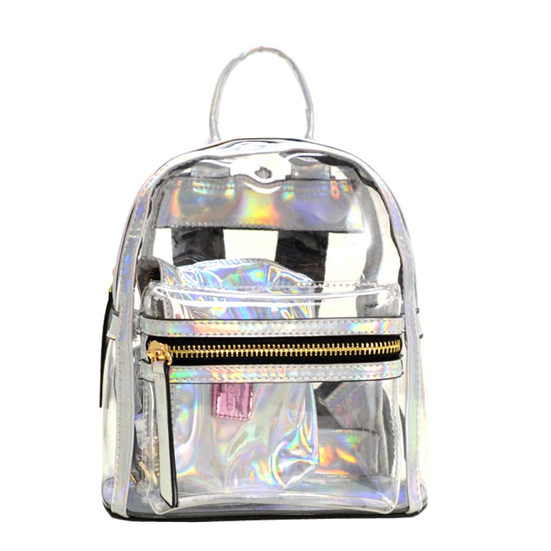 Clear mini backpack Silver