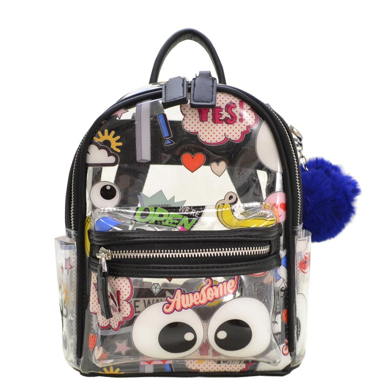 Emoticon Clear Backpack with PomPom Black