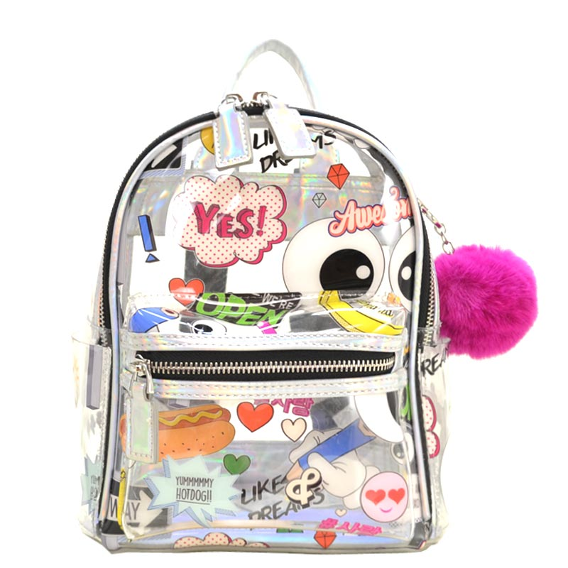 Emoticon Clear Backpack with PomPom Silver