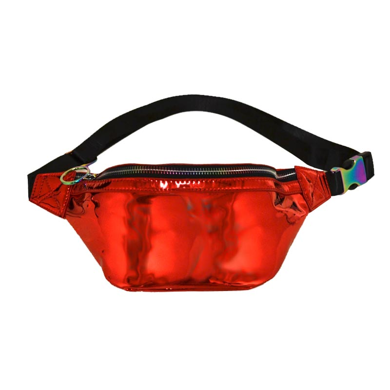 Fashion Glossy Trendy Waist Bag Red