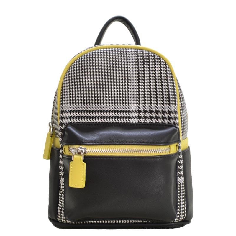 Houndstooth Print Mini Backpack Black