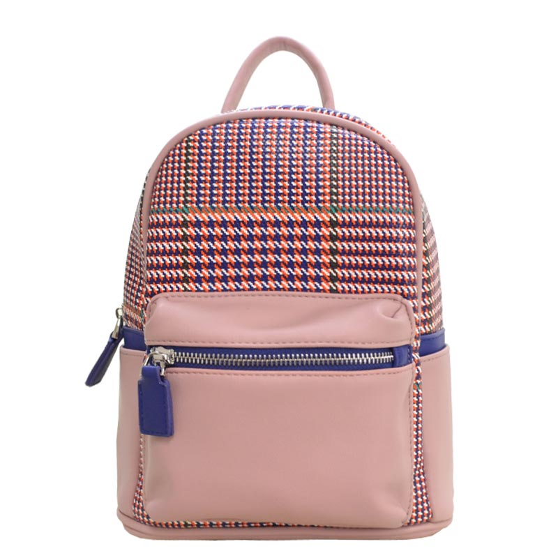 Houndstooth Print Mini Backpack Blush