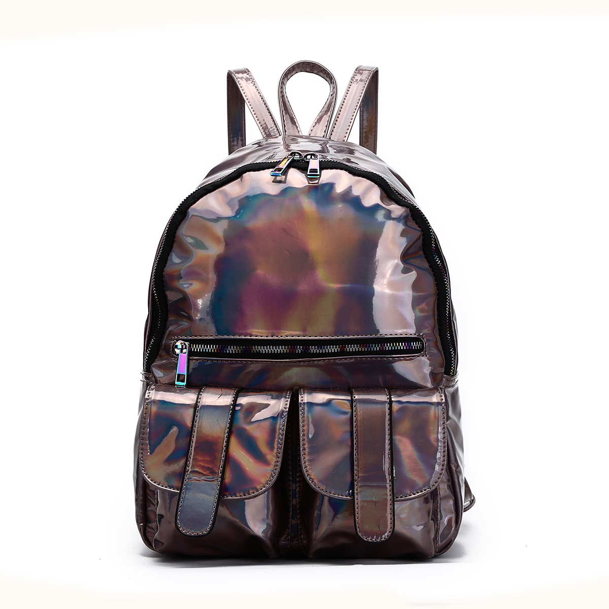 Hologram Dual Pocket Backpack with Rainbow Zipper Pewter