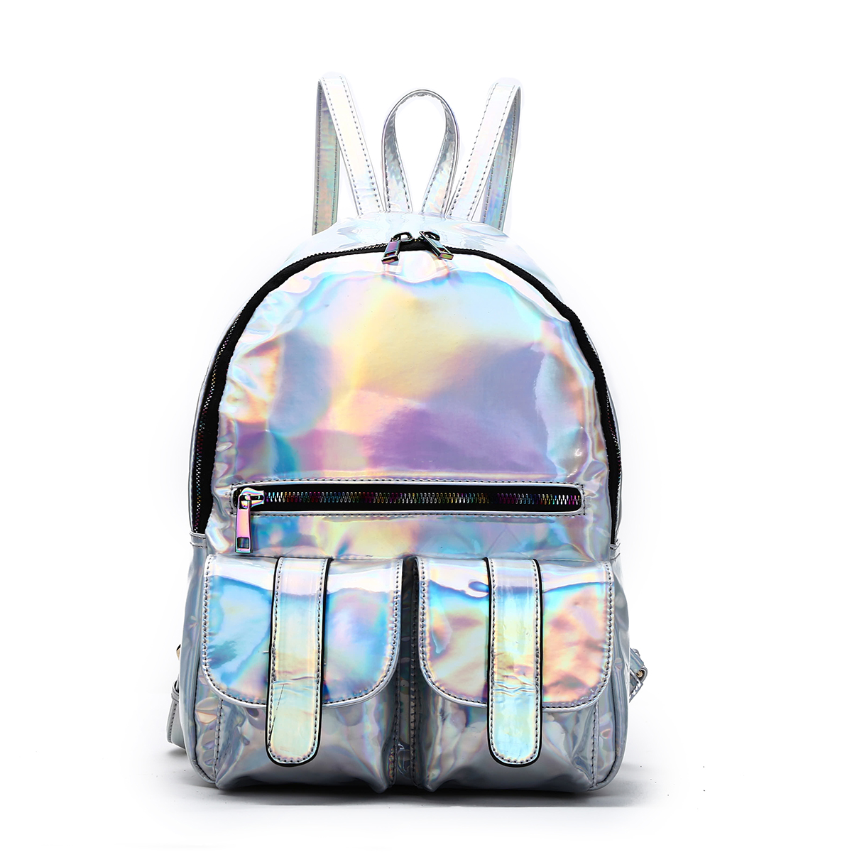 Hologram Dual Pocket Backpack with Rainbow Zipper Silver