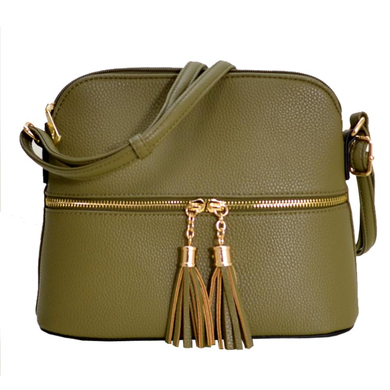 Tassel Zipper Puller Accent Cross Body Bag Olive
