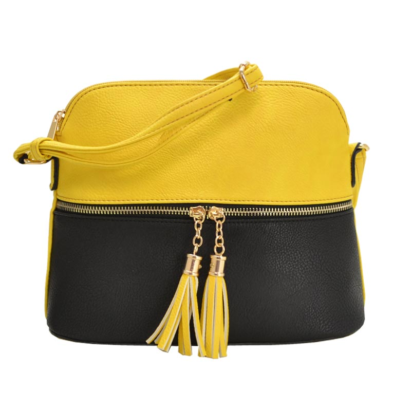 Color Blocked Tassel Zipper Puller Accent Cross Body Bag