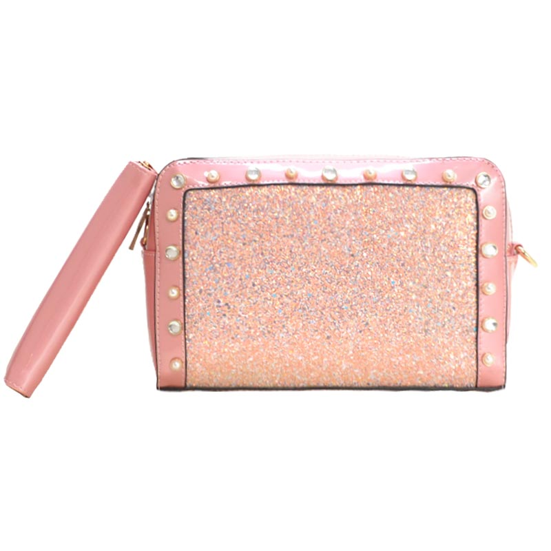 Square Satchel with Wallet Blush