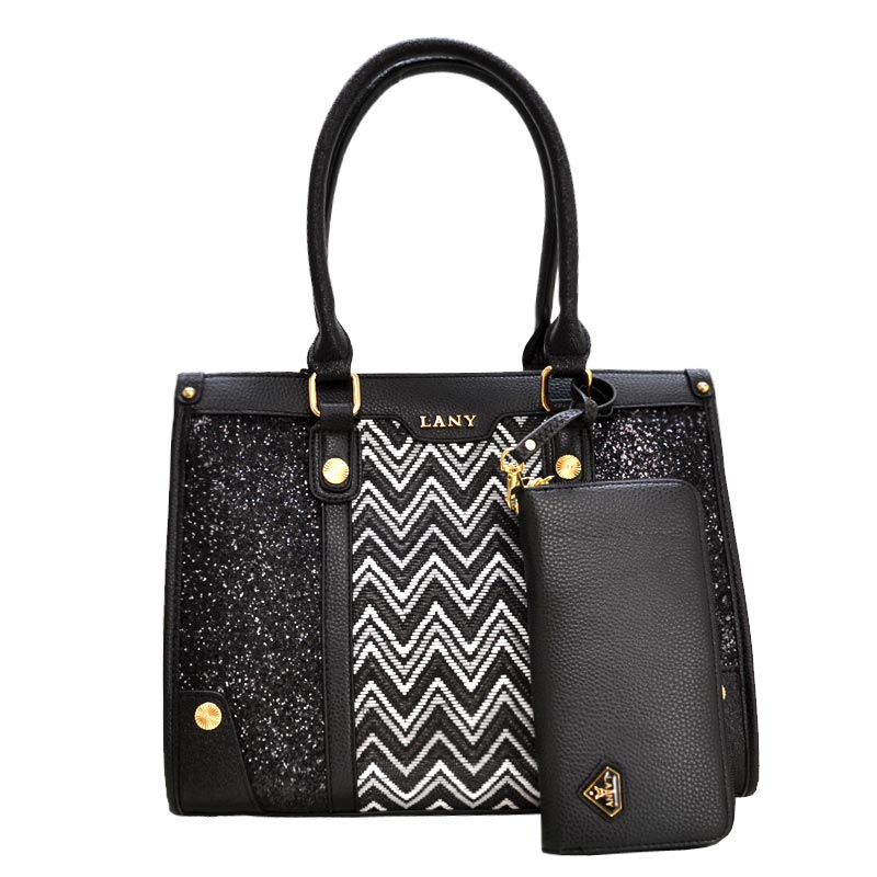 2 in 1 LANY Metallic Textured Satchel Black