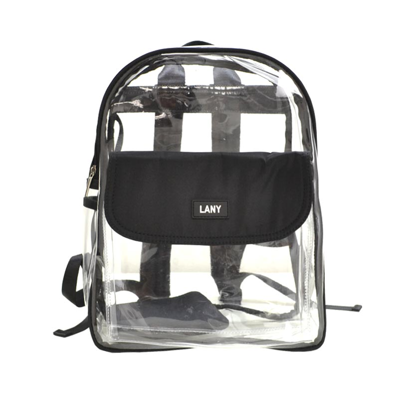 LANY Unisex Classic Clear Small Backpack with coin purse Black